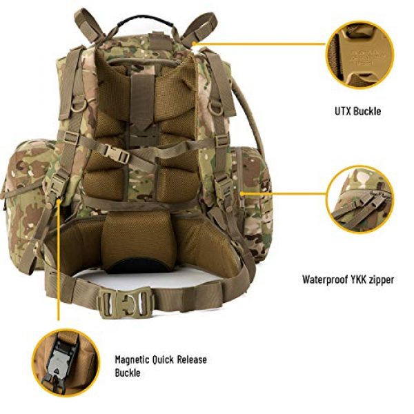 MT Tactical Backpack 4 MT Military MOLLE Medium Rucksack Hydration System Attached with IFAK Pouch and Assault Pack
