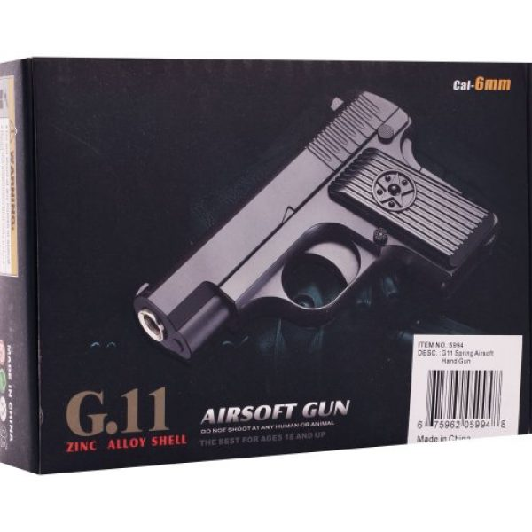 Whetstone Airsoft Pistol 2 Whetstone G.11 Zinc Alloy Shell Airsoft Pistol, Black