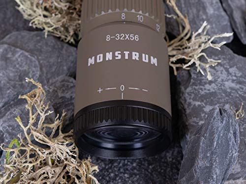 Monstrum Rifle Scope 5 Monstrum G3 8-32x56 First Focal Plane FFP Rifle Scope with Parallax Adjustment | ME308 Extended Offset Scope Mount | Flat Dark Earth |Bundle