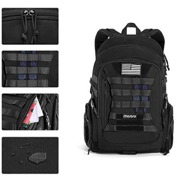 MOSISO Tactical Backpack 5 MOSISO Tactical Backpack, 2-Layer Multifuntional Large Molle Rucksack Daypack Adjustable Shoulder Back Pack Bag with Side Bottle Holder/USA Flag for Sport Outdoor Hiking Camping Training, Black