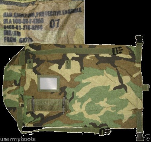 USGI Tactical Backpack 5 US Army Woodland Camo NBC Chem Chemical Suit Bag Back Pack Straps Mopp Gear
