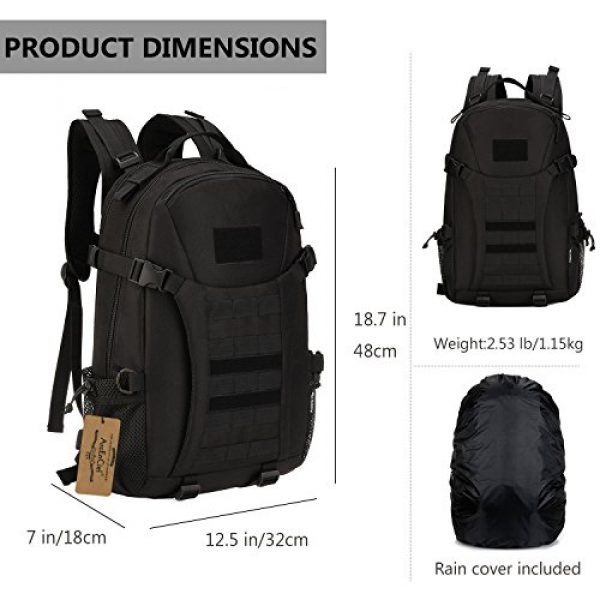 ArcEnCiel Tactical Backpack 3 ArcEnCiel Motorcycle Backpack Tactical Military Molle Gym Badminton Bag with Patch - Rain Cover Included