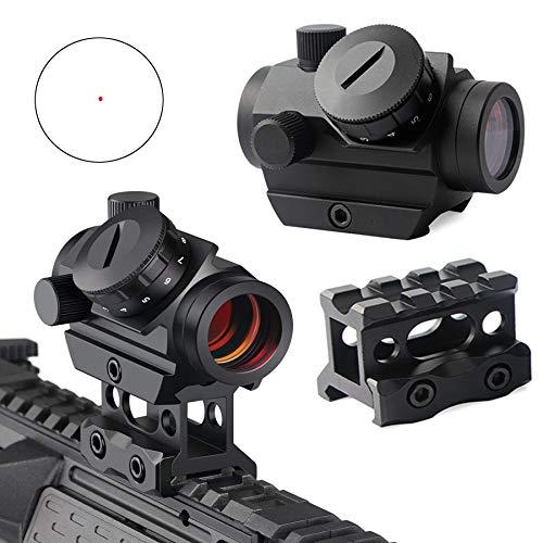QILU Rifle Scope 1 QILU 1x25mm Tactical Red Dot Sight | 3-4 MOA Compact Red Dot Scope | Reflex Rifle Optic with 11 Adjustable Brightness Settings | Reddot Gun Scope with 1 Inch Riser Mount