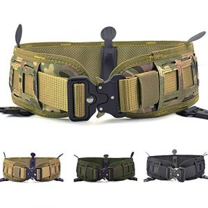 Action Union Tactical Belt 1 Action Union Tactical Battle Belt Set Slim MOLLE Belt War Belt Airsoft Belt Military Wasit Belt with Mesh Lining for Shooting War Game Paintball Hunting Sports Outdoor