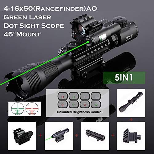 Letra Rifle Scope 2 Letra 4-in-1 4-16x50 EG Riflescope Kit, Dot Laser, Reflex Sight, Offset Rail Mount