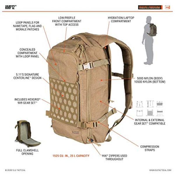 5.11 Tactical Backpack 7 5.11 Tactical Men's AMP12 Essential Backpack, Includes Hexgrid 9x9 Gear Set, 25 Liters, 1050D Nylon, Style 56392