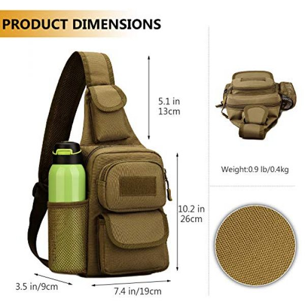 Protector Plus Tactical Backpack 5 Protector Plus Tactical Sling Bag Military MOLLE Crossbody Pack Chest Shoulder Backpack with Water Bottle Holder Pouch EDC Diaper Motorcycle Daypack (Patch Included)