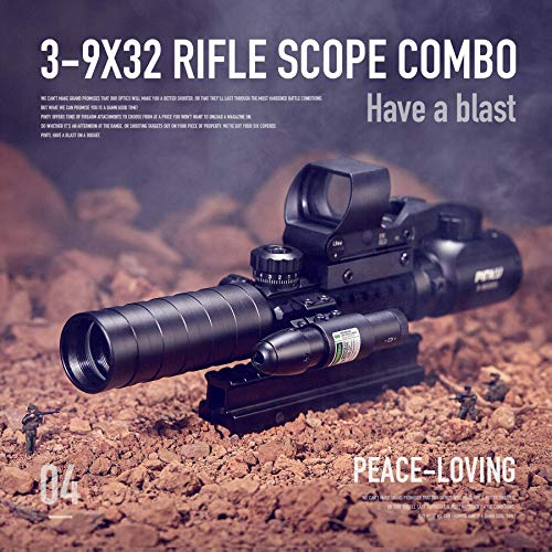Pinty Rifle Scope 2 Pinty Rifle Scope 3-9x32 Rangefinder Illuminated Reflex Sight 4 Reticle Green Dot Laser Sight & 6 inch to 9 inch Aluminum Rifle Bipod Works with Picatinny MLOK KeyMod and QD Mounting
