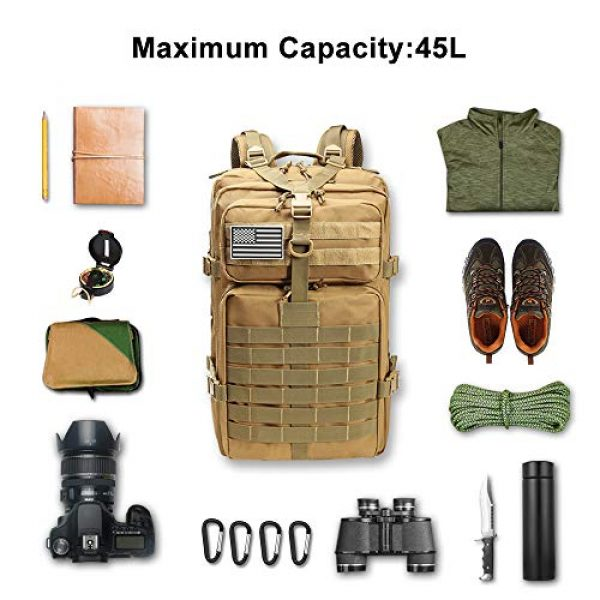 ROARING FIRE Tactical Backpack 5 ROARING FIRE Tactical Backpack, Army Assault Pack, Molle Backpack for The 3 Day Pack, Bug Out Bag 45L