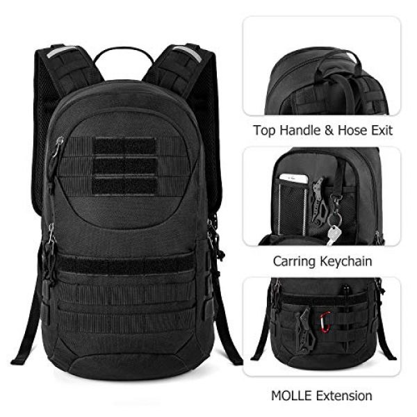 Gelindo Tactical Backpack 2 Gelindo Tactical Hydration Backpack, Military Lightweight Backpacks MOLLE Pack 900D with 2L Hydration Bladder, Small Tactical Assault Pack for Hiking Biking Running Climbing Outdoor Travel