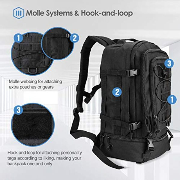 ProCase Tactical Backpack 5 Procase Military Tactical Backpacks 30 Liter, Large Capacity Hiking Daypacks Molle Bag for Camping, Hunting, Trekking, Military Traveling -Black
