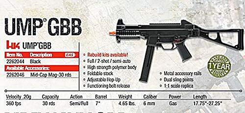 Elite Force Airsoft Elite Force HK UMP SMG 6 Elite Force 2262044 HK UMP GBB - Black 6 mm BB, One Size