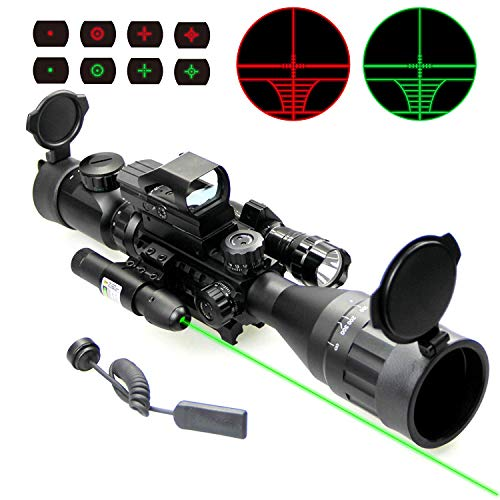 UUQ Rifle Scope 1 UUQ 4-16x50 AO Rifle Scope Red/Green Illuminated Range Finder Reticle W/Green Laser - Holographic Reflex Red Dot Sight - 5 Brightness Modes Flashlight