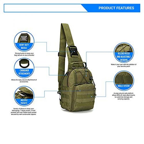 Rootless Tactical Backpack 3 Rootless Tactical MOLLE Military Sling Daypack - Small Messenger Bag
