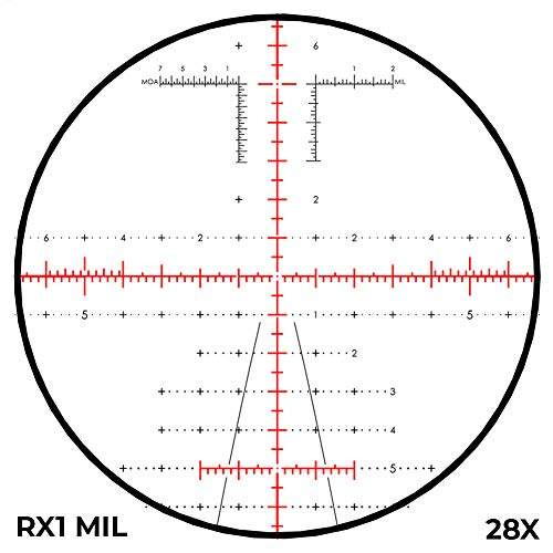 Revic Rifle Scope 5 Revic PMR 428 4.5-28x56, Smart Riflescope, 34 inch Tube, MIL RX1 Reticle, Gray, Left Handed, Black