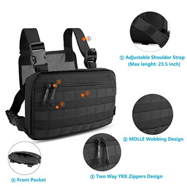 KRYDEX Tactical Backpack 4 KRYDEX Chest Bag Tactical Combat MOLLE Pouch Radio Chest Harness Front Chest Pouch Black