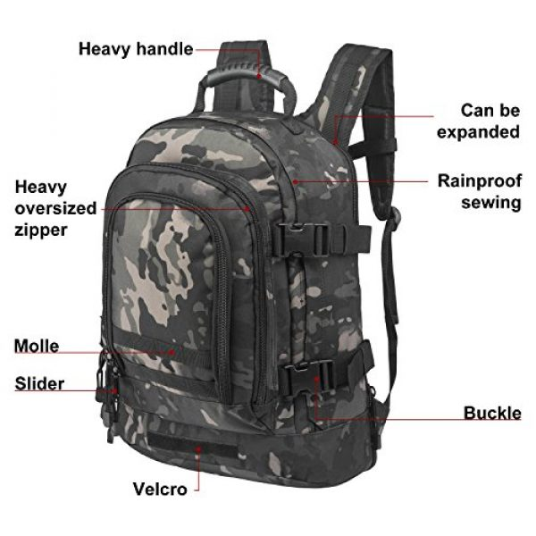ARMYCAMO Tactical Backpack 4 ARMYCAMO Expandable Backpack 39L-64L Large Military Tactical Bug Out Bag Daypack