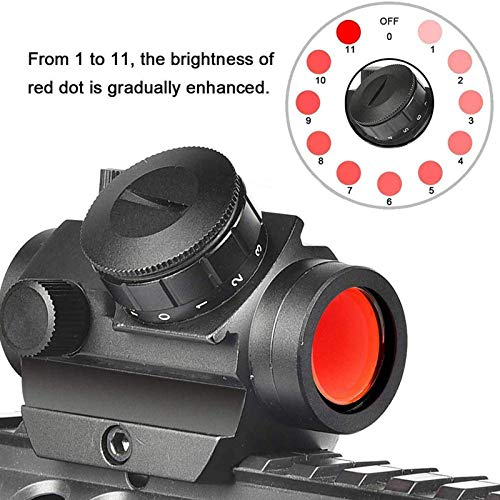 TTHU Rifle Scope 2 TTHU Mini Rifle Scopes Micro Red Dot Sight 1X25mm Reflex Sight Waterproof & Shockproof & Fog-Proof Red Dot Scope with 1 Inch Riser Mount