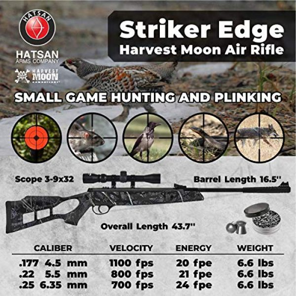Wearable4U Air Rifle 2 Hatsan Striker Edge Spring Harvest Moon Combo Air Rifle with Wearable4U 100x Paper Targets and Lead Pellets Bundle