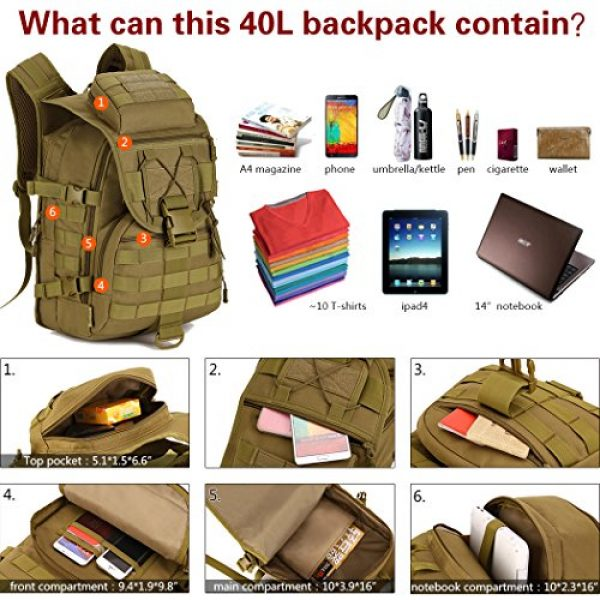 IDOGEAR SPORTS Tactical Backpack 3 IDOGEAR 40L Tactical Backpack Molle Assault Pack 900D Nylon Water Resistant Shoulder Bag Travelling Airsoft Backpacks