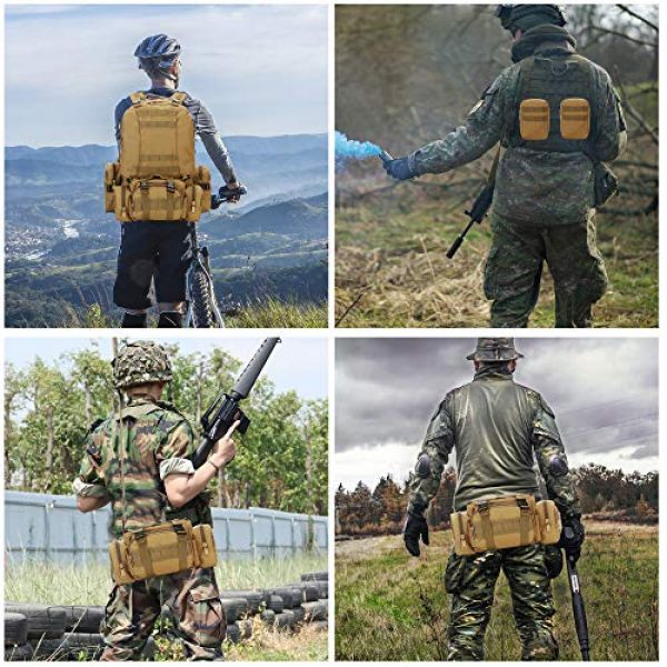 N/O Tactical Backpack 7 Camping Backpack for Men 55L Detachable Hiking Daypacks Travel Rucksack 3 day Pack