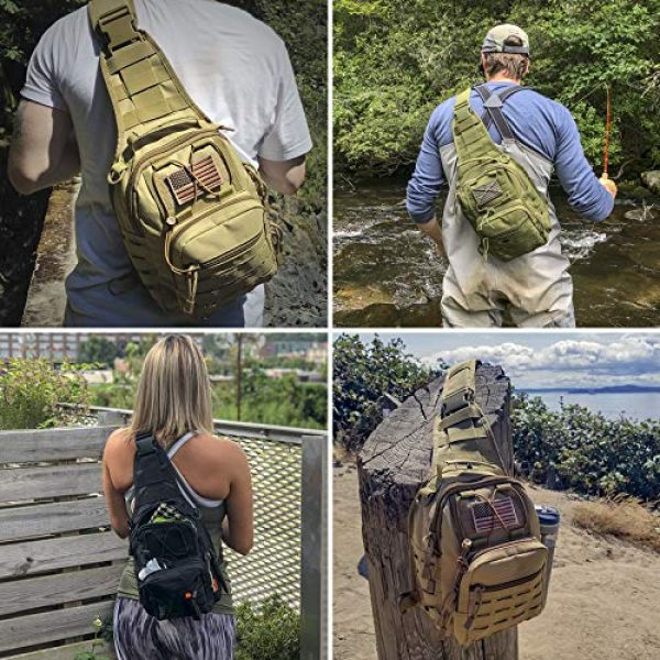 Gearrific Tactical Backpack 4 Tactical Sling Bag + Camping Shovel + G.I.D. Paracord + Flag Patch Combo - Military Day Pack, Small Backpack, Fishing, Hiking, Hunting