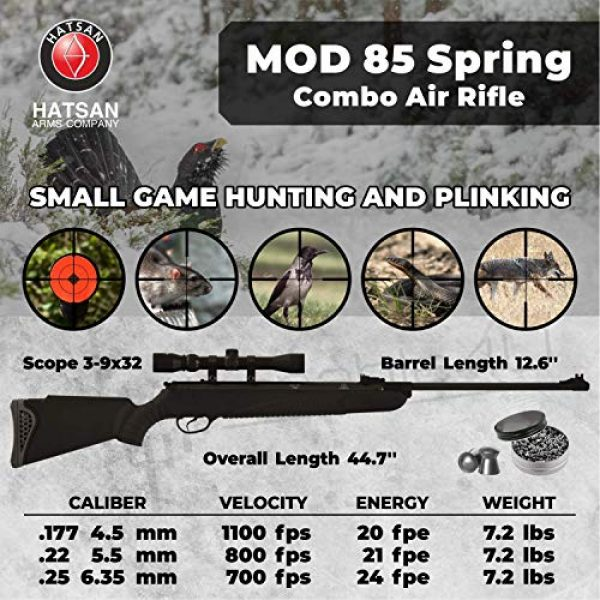 Wearable4U Air Rifle 2 Hatsan Mod 85 Spring Combo Air Rifle with Wearable4U 100x Paper Targets and Lead Pellets Bundle