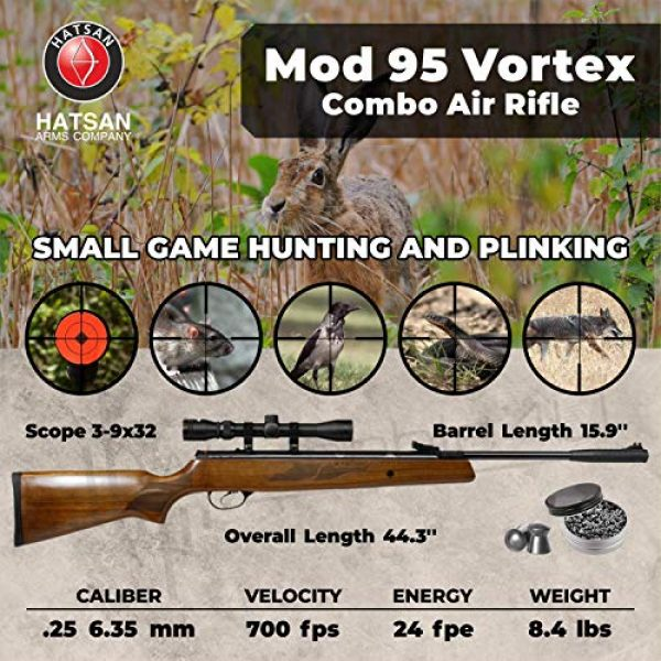 Wearable4U Air Rifle 2 Hatsan Mod 95 Vortex Combo Air Rifle with Wearable4U 100x Paper Targets and Lead Pellets Bundle