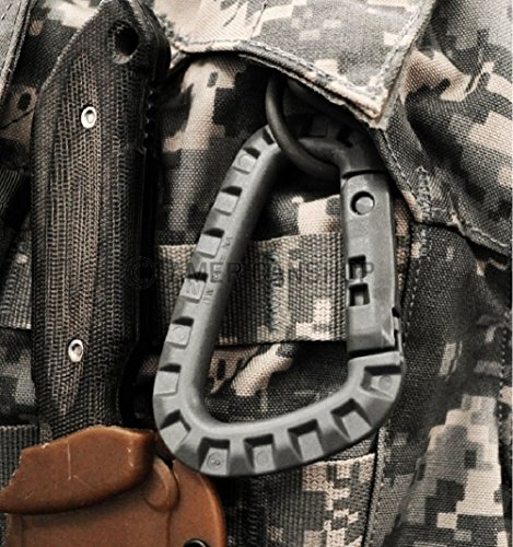 FMS Tactical Carabiner 6 Ravenox Tac Link Clip Carabiner | Heavy Duty Carabiner Clip | Black Locking Carabiner For Tactical Gear, Military, Outdoor Use | Large Carabiner For Camping Accessories | Polymer Carabiner D Ring Clip