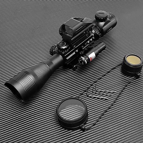 HIMIFOY Rifle Scope 7 HIMIFOY 4-12X50 EG Tactical Rifle Scope Dual Illuminated Optics & Rangefinder Illuminated Reflex Sight 4 Holographic Reticle Red/Green Dot Sight & IIIA/2MW Laser Sight(Red)