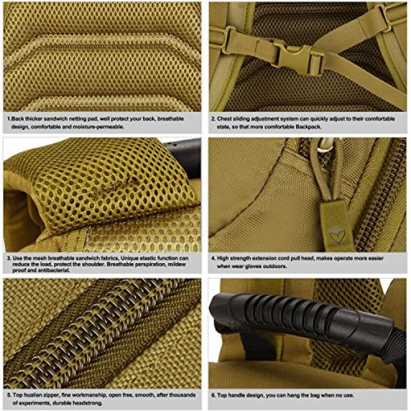 Huntvp Tactical Backpack 6 Huntvp 40L Tactical Military MOLLE Backpack WR 3 Way Modular Pack with Patch