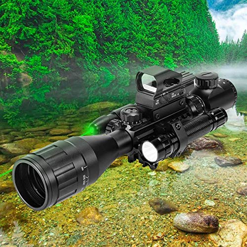 UUQ Rifle Scope 6 UUQ 4-16x50 AO Rifle Scope Red/Green Illuminated Range Finder Reticle W/Green Laser - Holographic Reflex Red Dot Sight - 5 Brightness Modes Flashlight