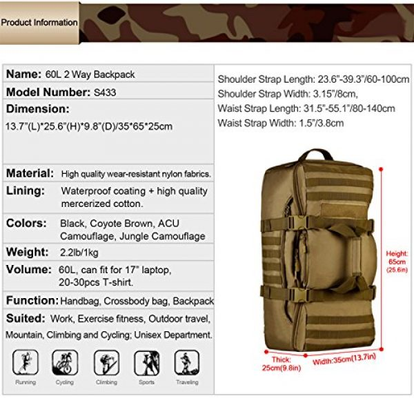 Huntvp Tactical Backpack 3 Huntvp 60L Tactical Military Backpack Gear Sport Outdoor Assault Pack Rucksack Bag For Hunting Camping Trekking Travel