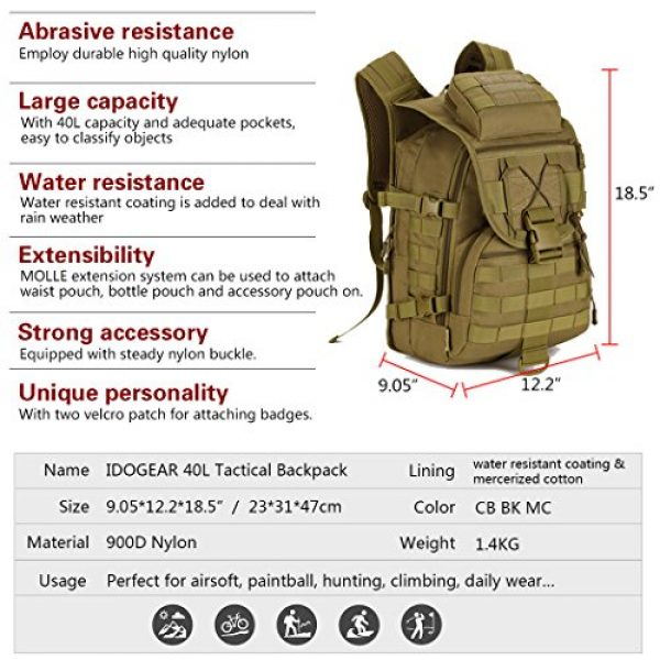 IDOGEAR SPORTS Tactical Backpack 2 IDOGEAR 40L Tactical Backpack Molle Assault Pack 900D Nylon Water Resistant Shoulder Bag Travelling Airsoft Backpacks