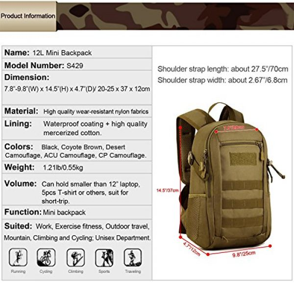 Protector Plus Tactical Backpack 3 12L Mini Daypack Military MOLLE Tactical Backpack Rucksack Gear Assault Pack