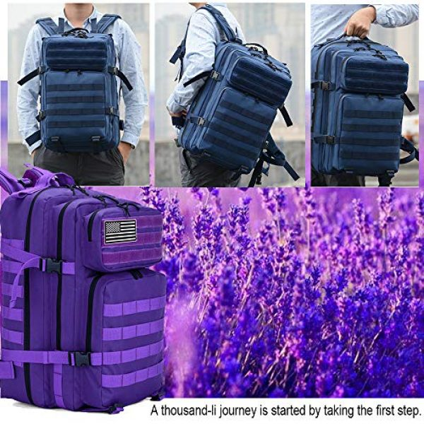 LHI Tactical Backpack 6 LHI Military Tactical Backpack for Men and Women 45L Army 3 Days Assault Pack Bag Large Rucksack with Molle System - Purple