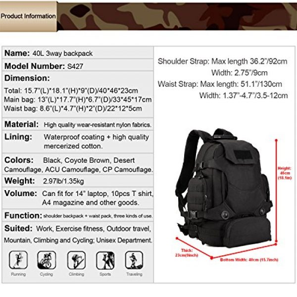 Huntvp Tactical Backpack 2 Huntvp 40L Tactical Military MOLLE Backpack WR 3 Way Modular Pack with Patch