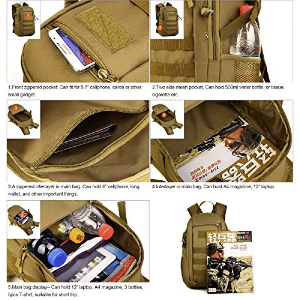 Huntvp Tactical Backpack 5 Huntvp 10L Mini Daypack Military MOLLE Backpack Rucksack Gear Tactical Assault Pack Bag for Hunting Camping Trekking Travel