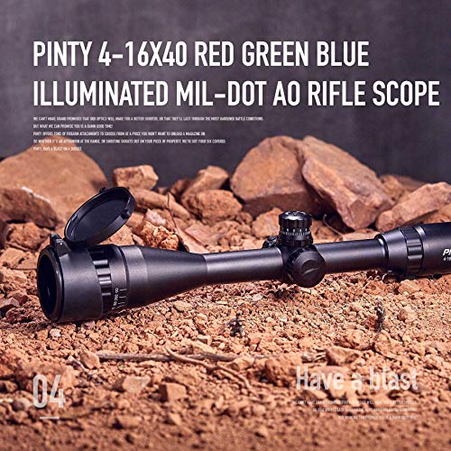 Pinty Rifle Scope 2 Pinty 4-16X40 Rifle Scope AO Red Green Blue Illuminated Mil Dot with Flip-Open Covers, Sunshade Tube