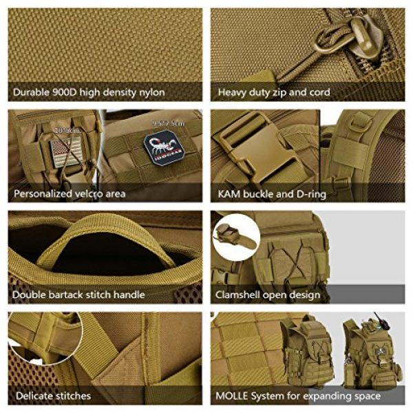 IDOGEAR SPORTS Tactical Backpack 5 IDOGEAR 40L Tactical Backpack Molle Assault Pack 900D Nylon Water Resistant Shoulder Bag Travelling Airsoft Backpacks