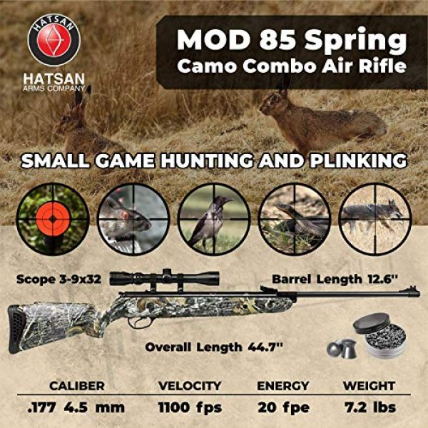 Wearable4U Air Rifle 2 Hatsan Mod 85 Spring Camo Combo Air Rifle with Wearable4U 100x Paper Targets and Lead Pellets Bundle