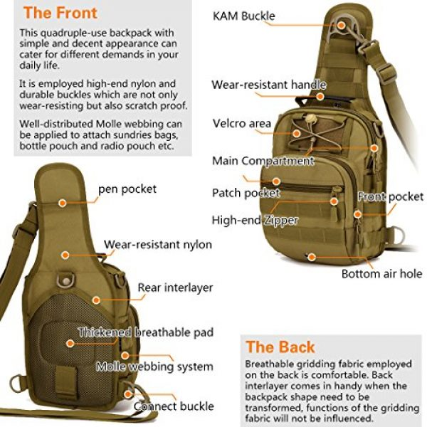 IDOGEAR SPORTS Tactical Backpack 4 IDOGEAR Tactical Sling Bag Pack Small EDC Molle Assault Military Army Shoulder Backpack