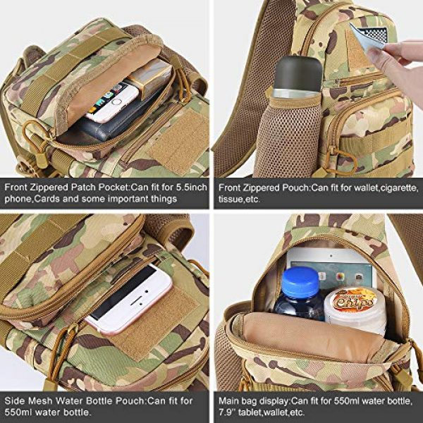 EDOBIL Tactical Backpack 4 EDOBIL Tactical Bag, Messenger Bag Best Outdoor Sling Bag for Men and Women - Small One Military Bag for Trekking,Camping,Hiking,Cycling Rover Sling Daypack