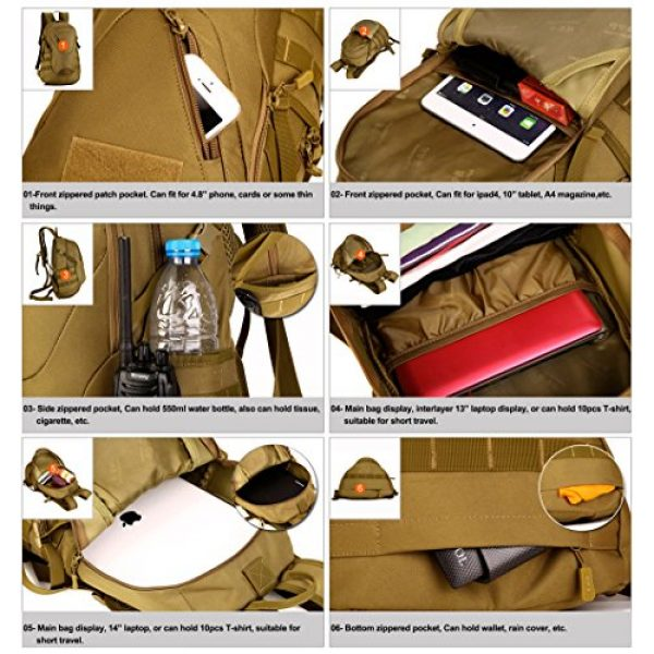 Huntvp Tactical Backpack 4 Huntvp Military MOLLE Backpack Rucksack Gear Tactical Assault Pack Student School Bag 20L for Hunting Camping Trekking Travel