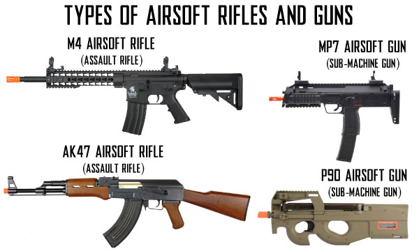 Airsoft M4, Airsoft AK47, Airsoft MP7, and Airsoft P90 Airsoft Rifles Comparison