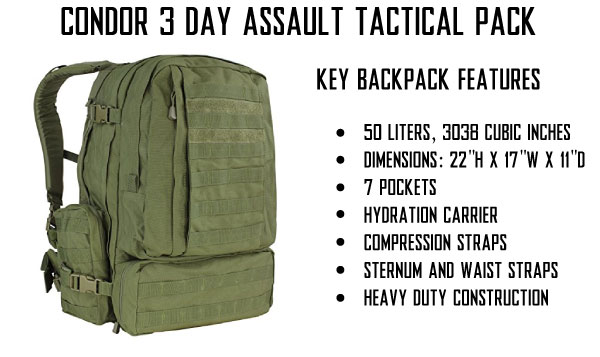 Condor 3 Day Assault Tactical Backpack Overview