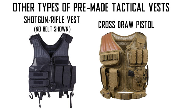 Different Types of Pre-Made Tactical Airsoft Vests with Shotgun Rifle EOD and Grenadier