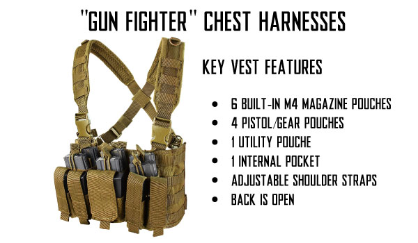 Tactical Half Vests and Gun Fighter Chest Harnesses for Airsoft