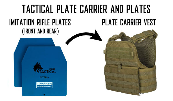 Tactical Plate Carrier Vests for Airsoft with Imitation Ballistic Rifle Plates