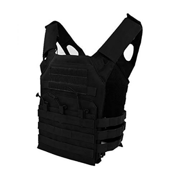 Mlida Airsoft Tactical Vest 1 Mlida Tactical Vest, Modular Lightweight Durable Tactical Gear, Adjustable Ultra-Light Breathable Protection Vest for Outdoor Paintball Training - Black